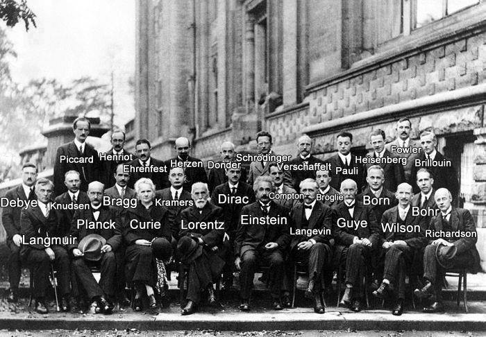 Langmuir in good company with Max Planck , Madame Curie, Einstein, Schrödinger, Heisenberg, Bohr and others at the Solvay Conference , 1927.